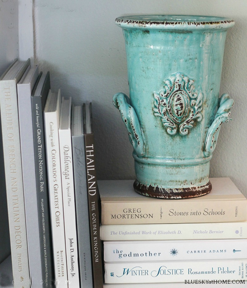 turquoise vase for fall decor