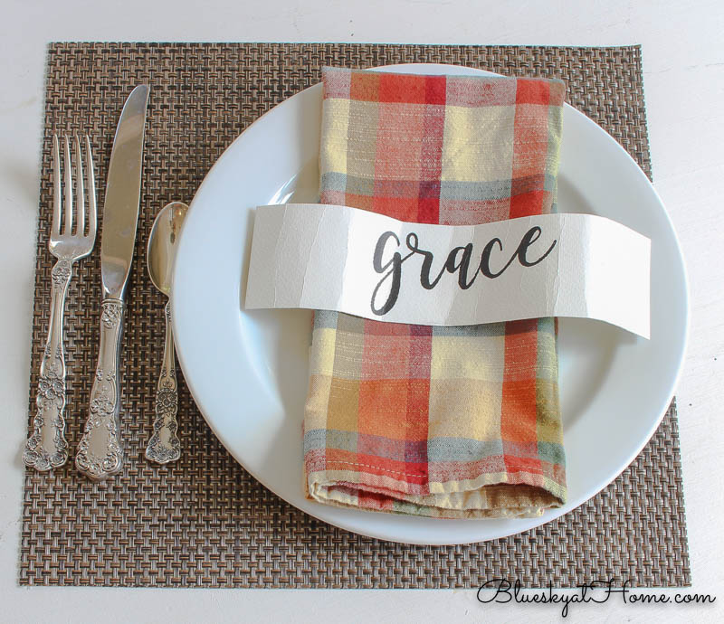 fall place setting with plaid napkin