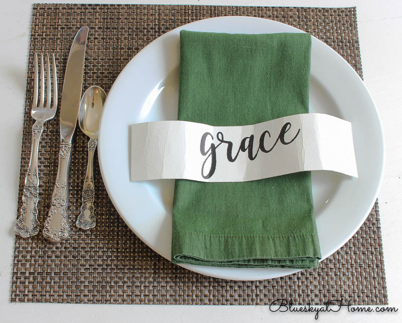 fall place setting with green napkin