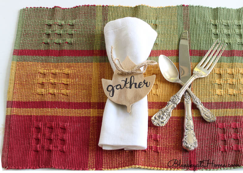 fall place setting with gather napkin ring on plaid place mat