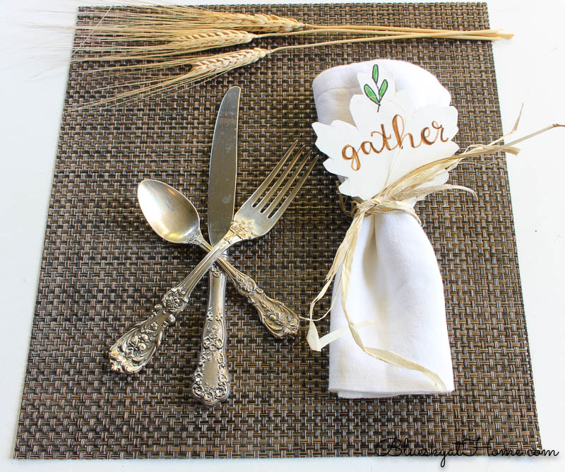 fall place setting with gather sign and wheat