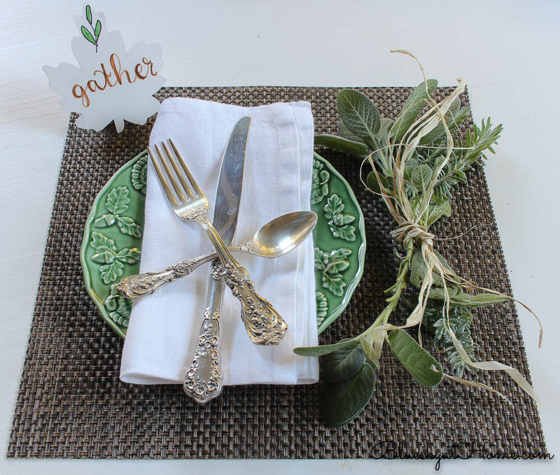 fall place setting with gather sign and herbs