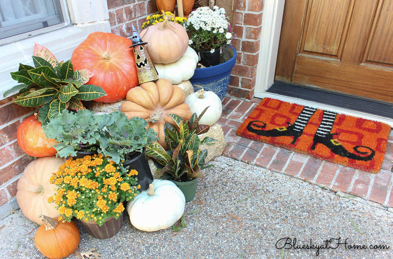 pumpkins and flowers on front porch