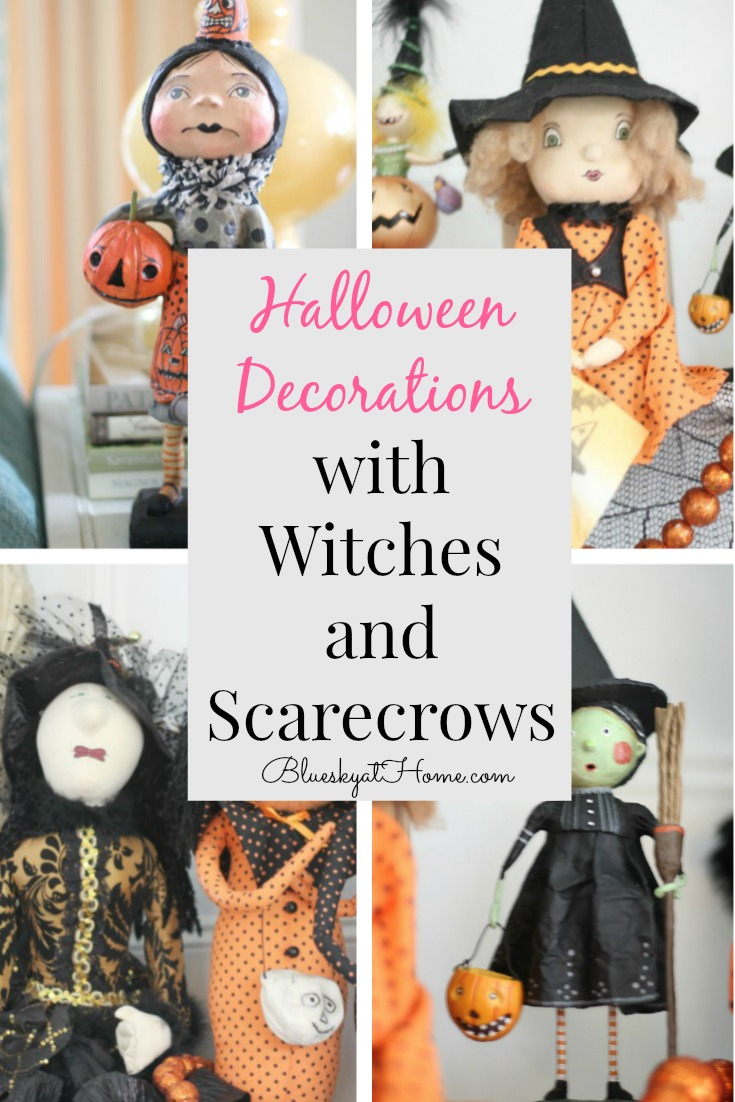 Halloween decorations with Witches and Scarecrows graphic