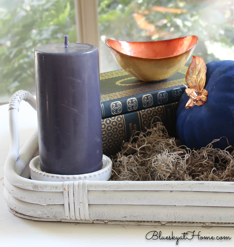 fall vignette with navy and copper