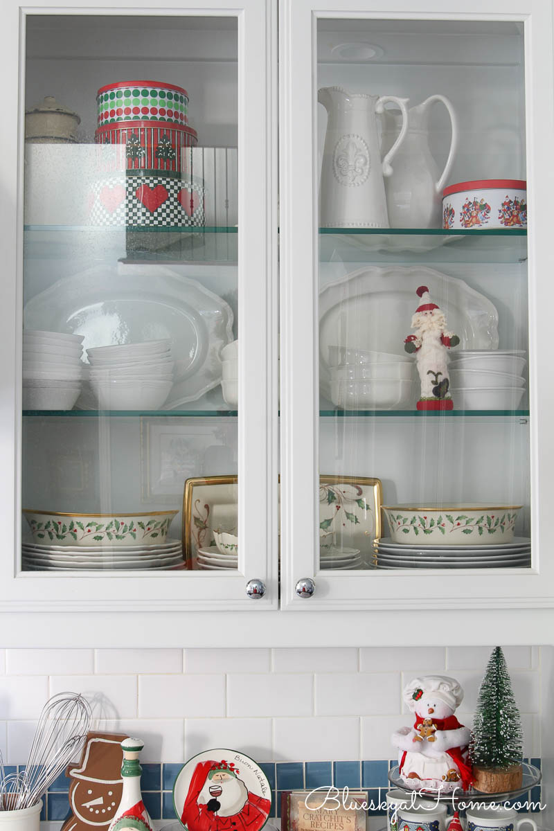 Kitchen cabinets with Christmas dishes
