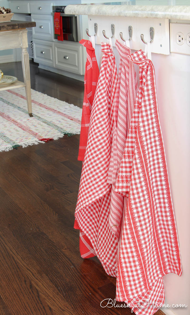 red and white dish towels