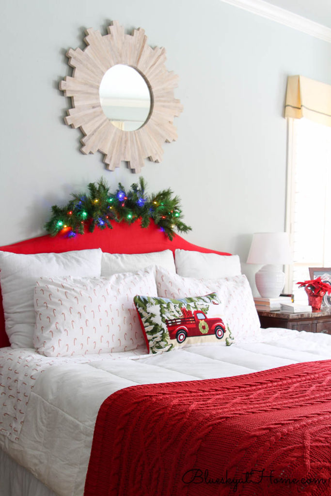 red decorated master bedroom