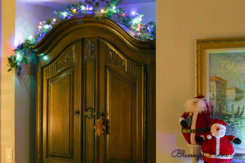 bedroom armoire with Christmas lights