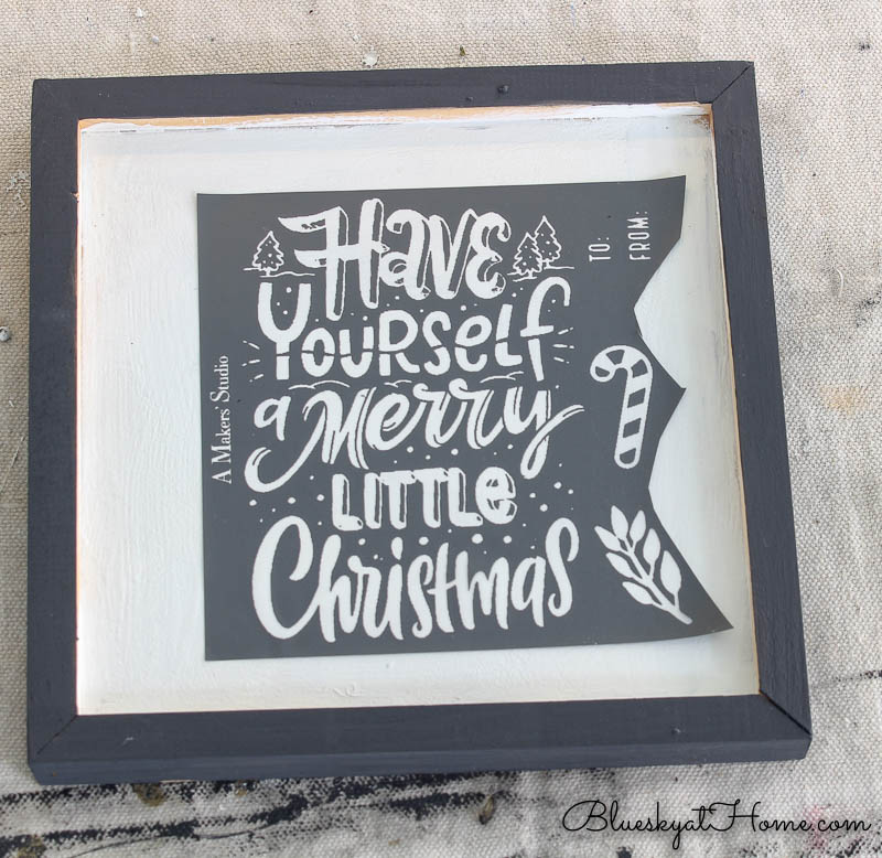 Christmas stencils on wood sign