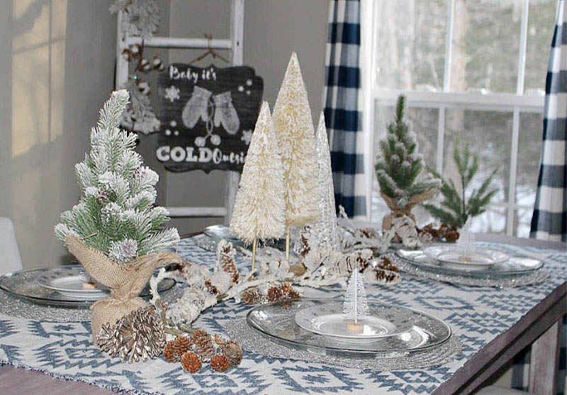 winter tablescape with buffalo check and white trees