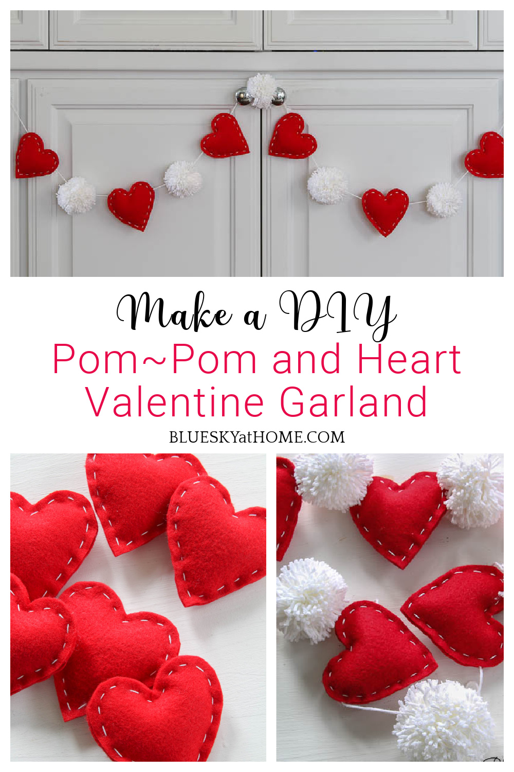 Pinterest Inspired Pom Pom And Heart Valentine Garland Bluesky At Home