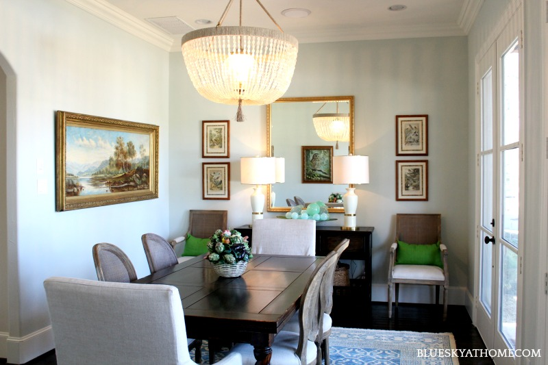 dining room with mirror as focal point