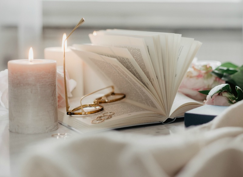 candle and book