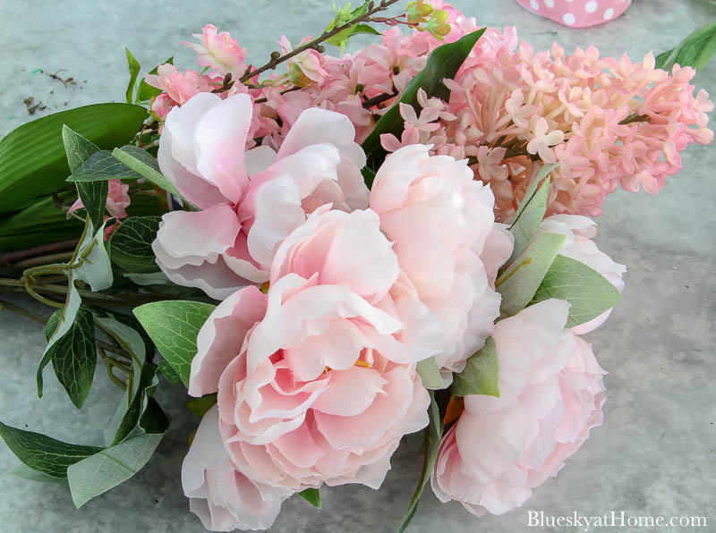 pink faux flowers