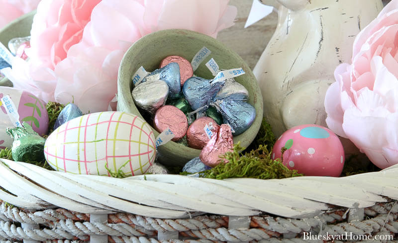 painted Easter eggs and Hersey kisses