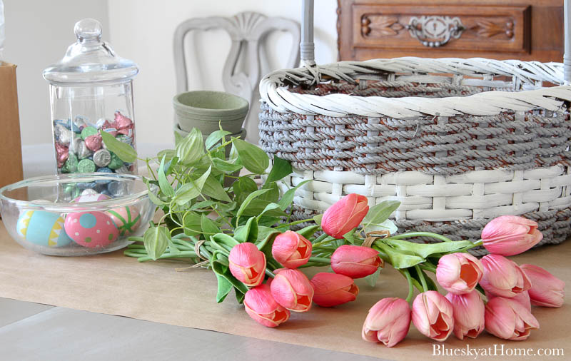 pink tulips and basket