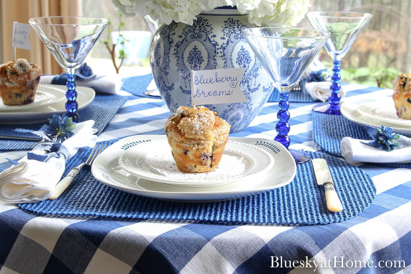 blueberry muffin on white plate
