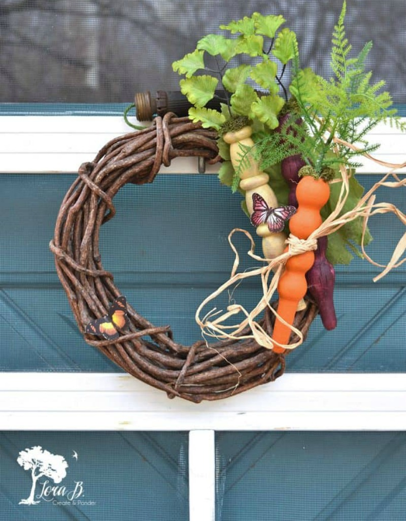 wood spindle wreath