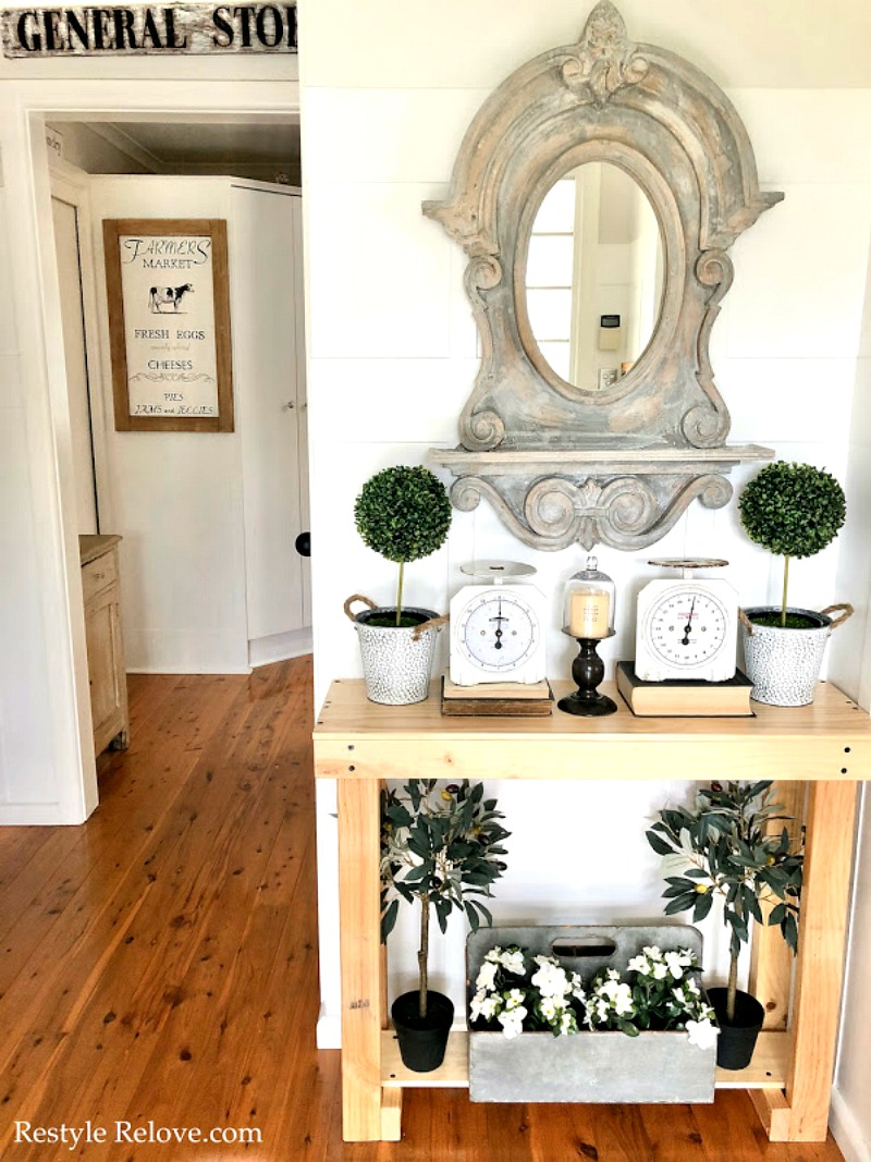 farmhouse entry with vintage items