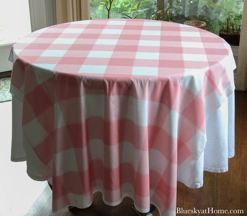 pink check tablecloth