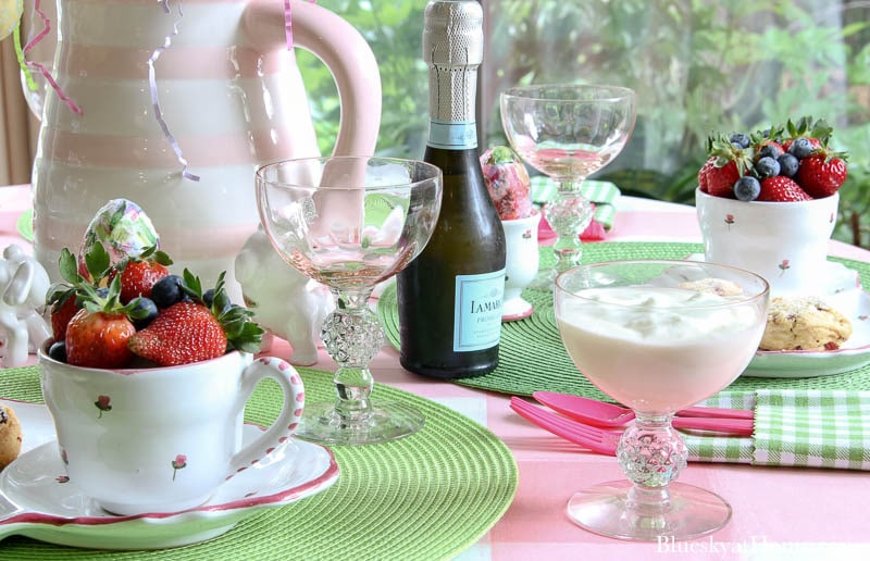 Easter table with fruit and scones