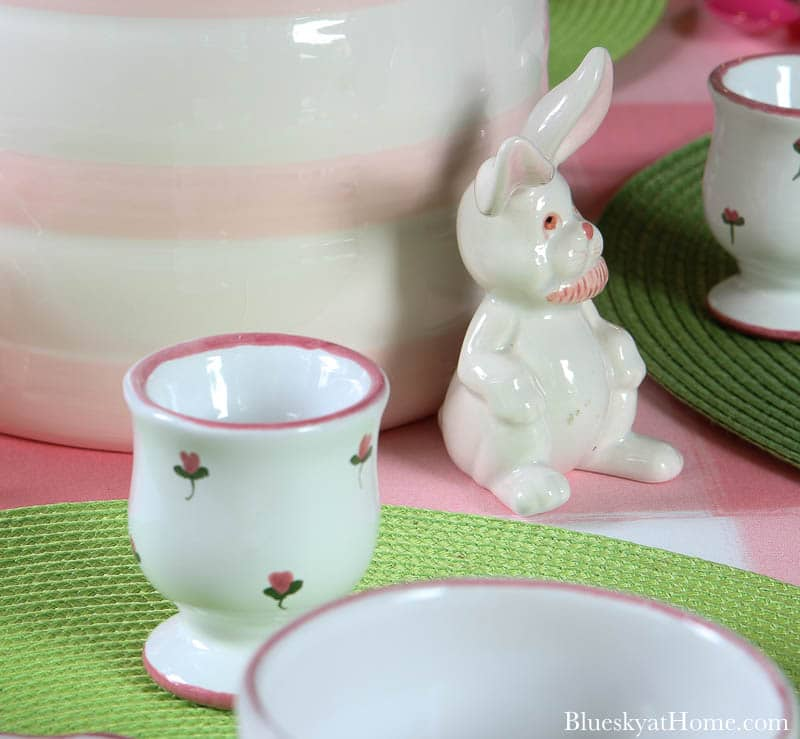 egg cup and ceramic bunny