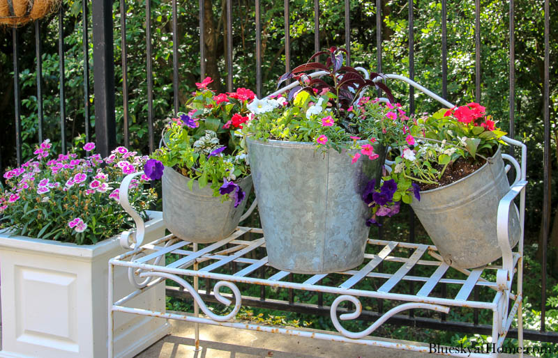 galvanized pails and flowers on bench