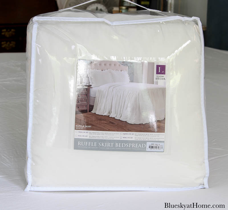 white coverlet in package