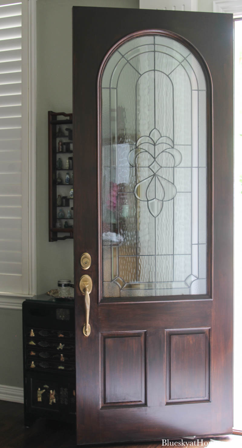 refreshed front door with Gel Stain