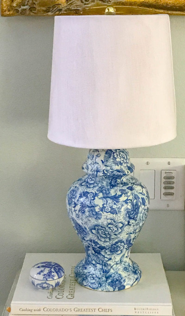 blue and white Chinoiserie Style Lamp with Decoupage.