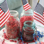 patriotic vignette with mason jars and flags