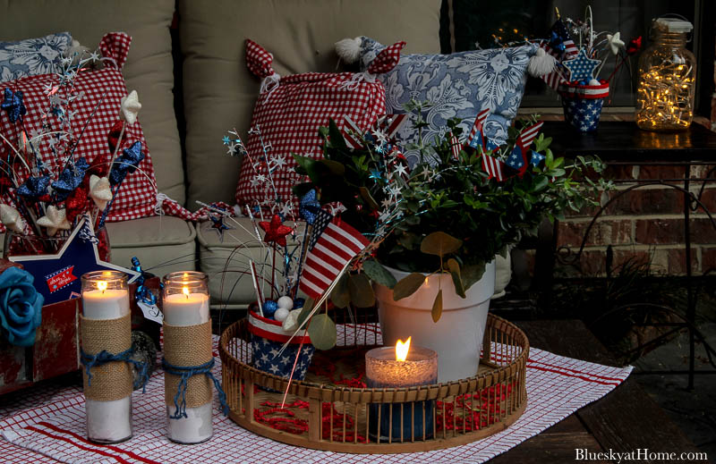 4th of July decorations at night with candles