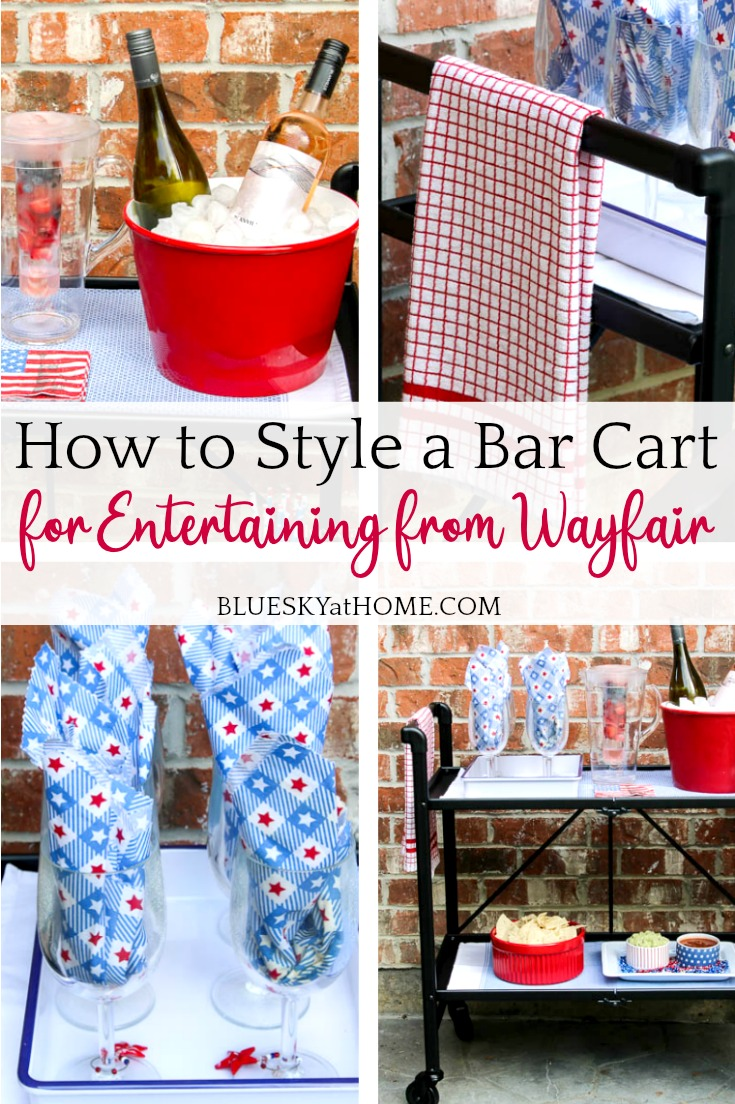 style a bar cart for entertaining graphic
