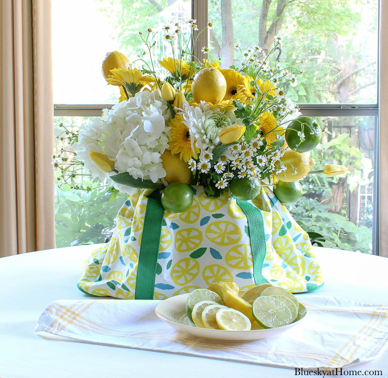 summer centerpiece on white table