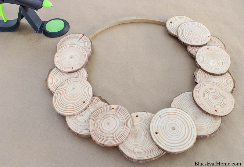 wood circle and wood slices
