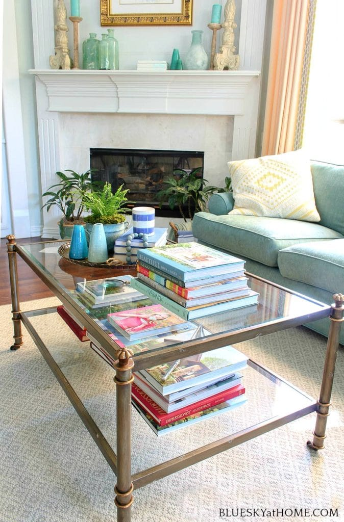 coffee table with books and candles