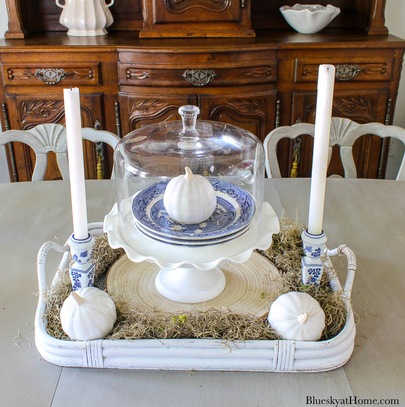 blue and white fall vignette on table