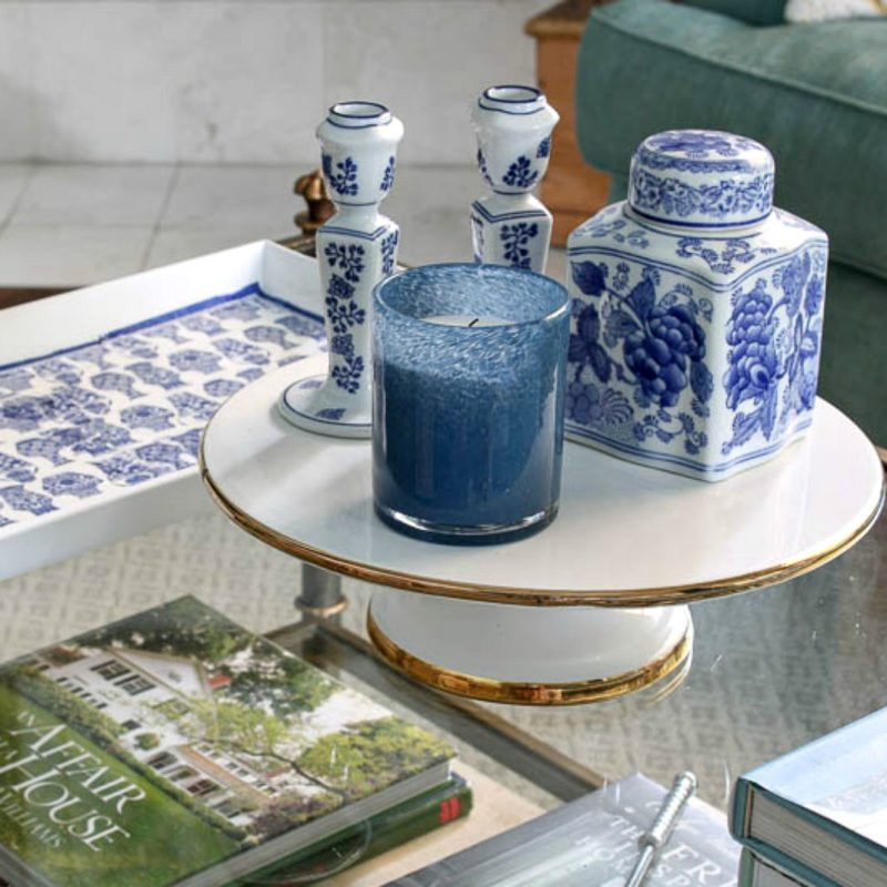 blue and white dishes for fall vignette