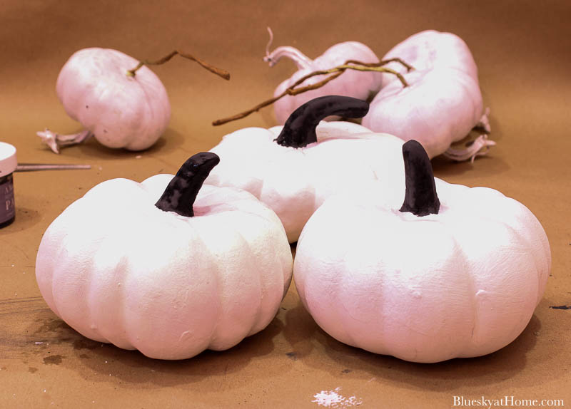 painted white and black pumpkins