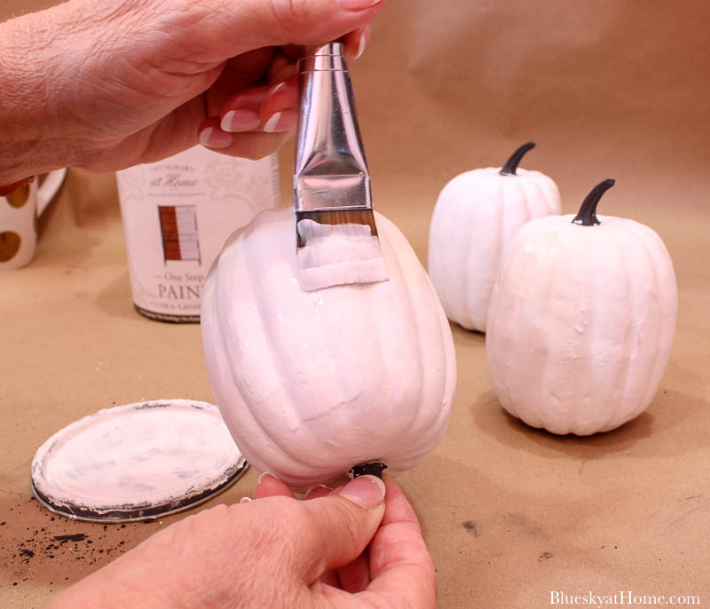 painting white and black pumpkins