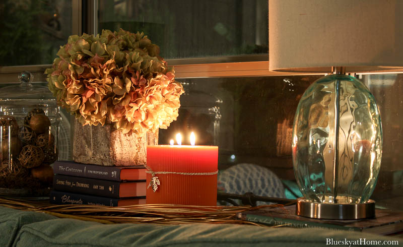 fall living room with candlelight
