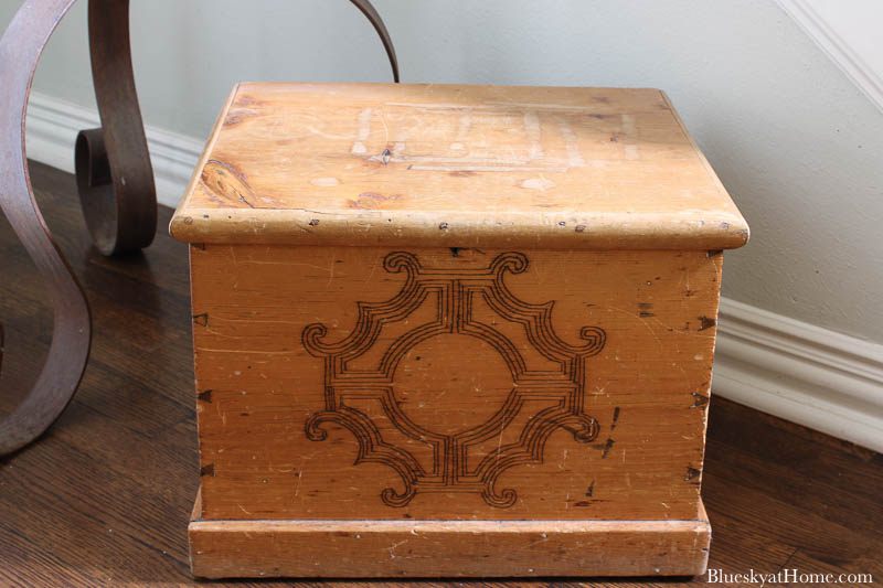 antique wood box with lid