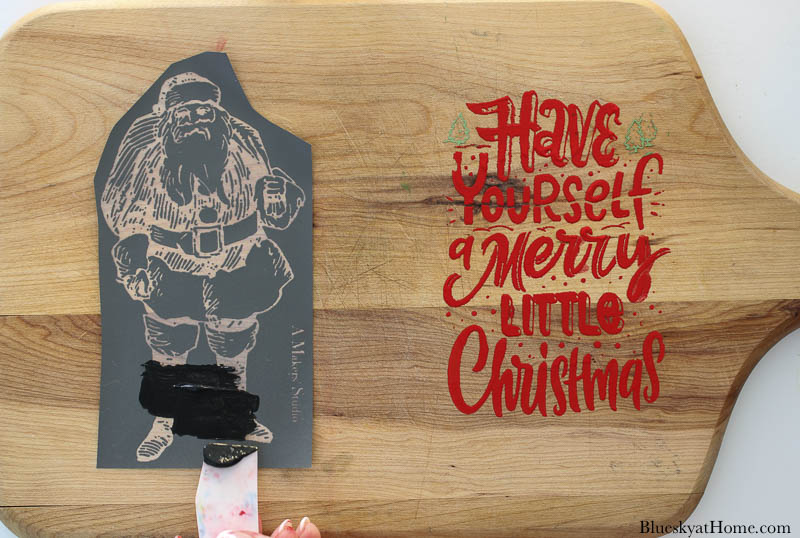 stencils on Christmas vintage cutting boards