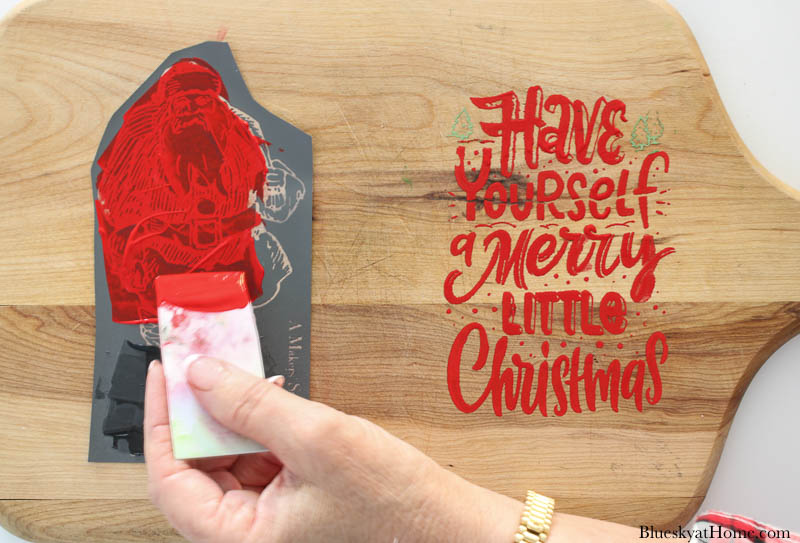 painting stencils on Christmas vintage cutting boards