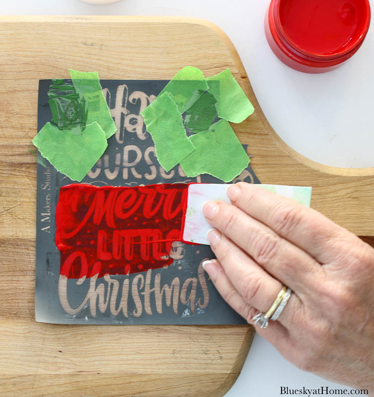 painting Christmas vintage cutting boards