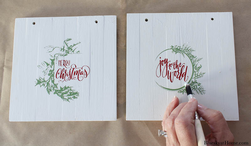 stenciled wood Christmas signs