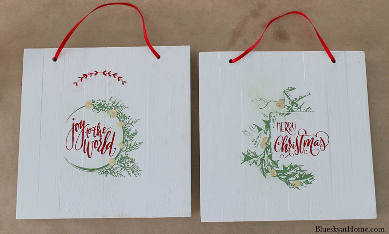 wood Christmas signs with ribbon hangers