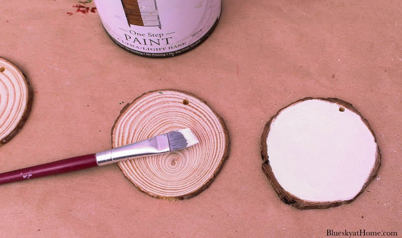 painting Christmas wood ornaments