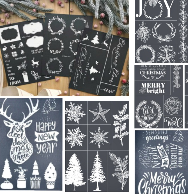 collection of Christmas stencils